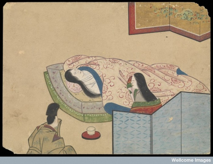 2 of 9: In this painting the woman has died, and is laid on the floor covered in a blanket.  Image Credit: Wellcome Collection