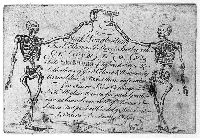 "Trade card for Nath Longbottom ""skeleton supplier"" in London mid-18th century. Image via: the Wellcome Collection on Wikipedia"