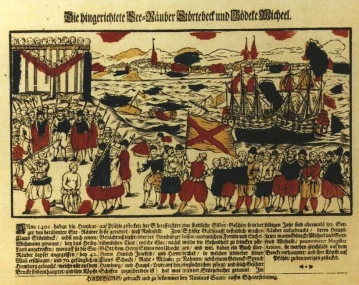 The summary execution of Störtebeker, 1401 on a tinted woodcut by Nicolaus Sauer, Hamburg, 1701.  Image credit: Wikipedia