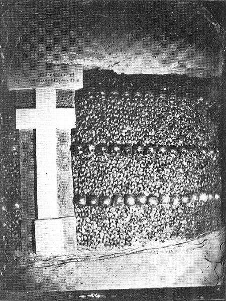 Photograph by Felix Nadar in the Paris Catacombs, ca. 1861.  Image from Wikipedia.