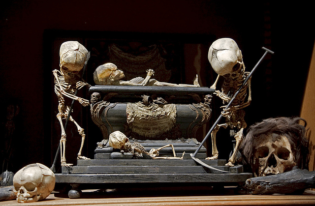 """Fetal Skeleton Tableau, 17th Century, University Backroom, Paris.""  Image credit: Joanna Ebenstein, Morbid Anatomy."