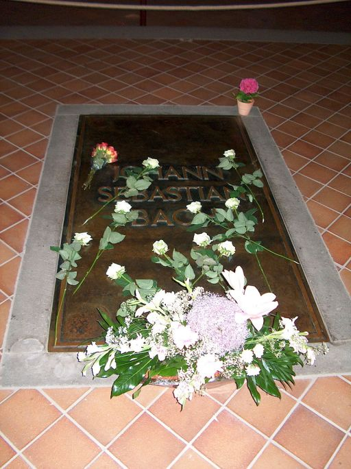 Bach's grave, St. Thomas Church, Leipzig.  Image credit: Furfur via Wikipedia.