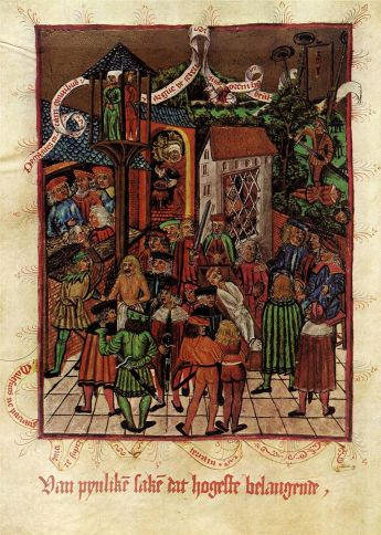 An illustration of a body in its coffin starts to bleed in the presence of the murderer during a cruentation 1497.  Image from Wikipedia.