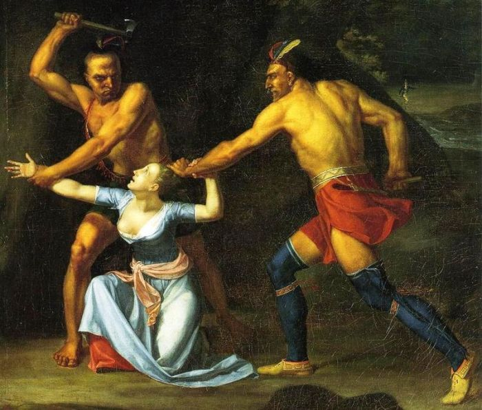 This depiction of The Death of Jane McCrea was painted in 1804 by John Vanderlyn.  Image from Wikipedia.