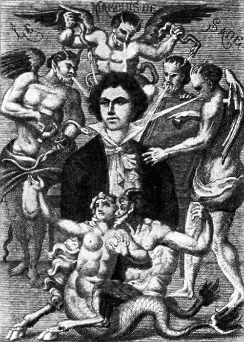 Depiction of the Marquis de Sade by H. Biberstein in L'Œuvre du marquis de Sade, Guillaume Apollinaire (Edit.), Bibliothèque des Curieux, Paris, 1912.  Image from Wikipedia.