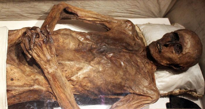 Mummified body of Christian Friedrich von Kahlbutz in the crypt of the Kampehl church.