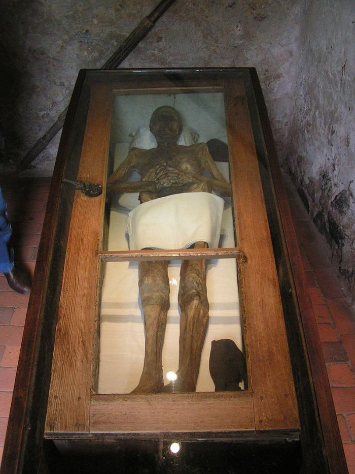 Mummified body of Christian Friedrich von Kahlbutz.  Image credit: Hedavid on Wikipedia.