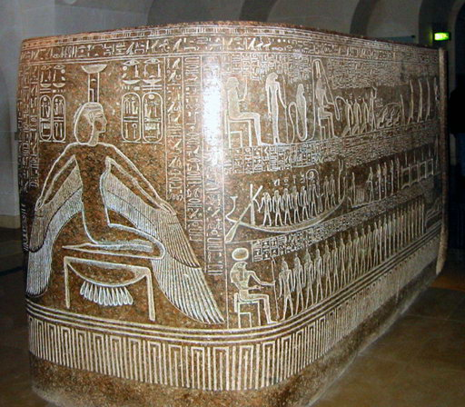 Red granite sarcophagus of Ramesses III at the Louvre.  Image credit: Korribot on Wikipedia.