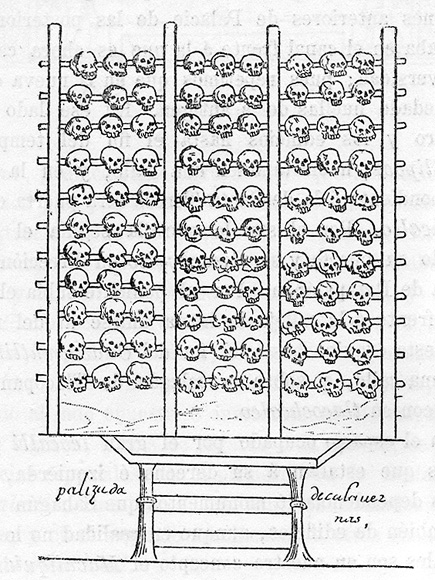 A tzompantli, illustrated in the 16th-century Aztec manuscript, the Durán Codex.  Image credit: CJLL Wright on Wikipedia.