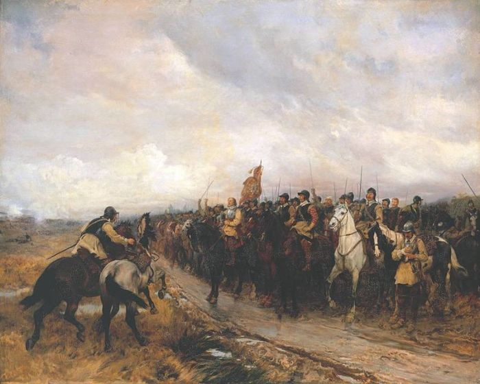 Cromwell at Dunbar by 19th century artist Andrew Carrick Gow. Image credit: P. S. Burton on Wikipedia.