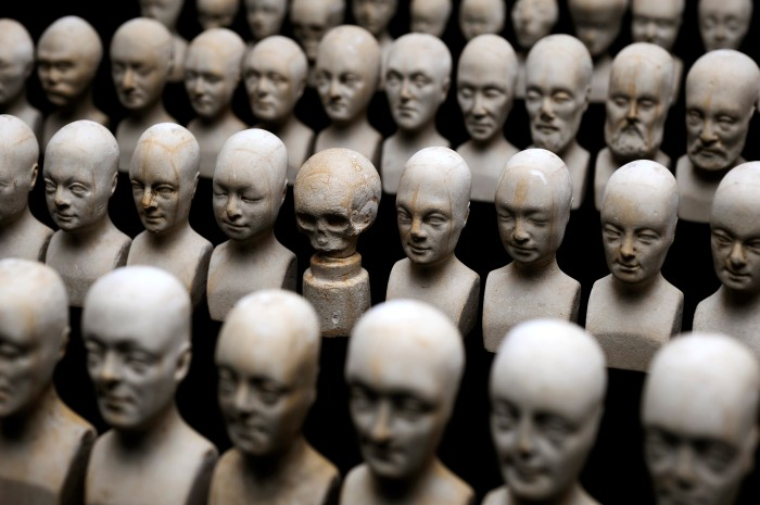 Set of sixty miniature heads used in phrenology produced by William Bally in 1832. Image Credit: Science Museum, London via Wikipedia