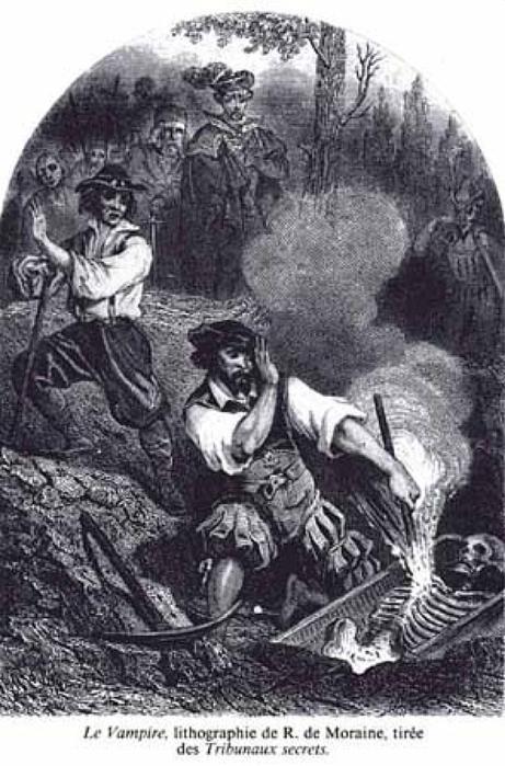 """The Vampire"", lithograph by R. de Moraine (1864). Image credit: Wikipedia."