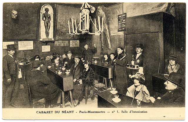 The tavern room at the Cabaret du Néant, ca. 1920's. Image credit: Casas-Rodríguez Collection via Flickr.