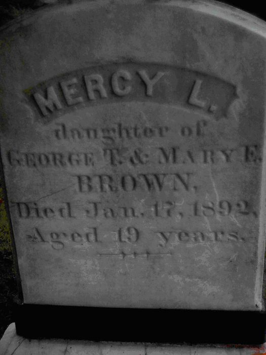 Grave stone of Mercy Brown. Image credit: Wikipedia.