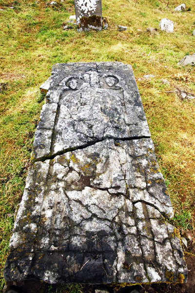 The grave slab of St. Nicholas at Jerpoint Abbey in Ireleand.  Image credit: Fiddawn on Wikipedia.