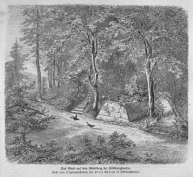 Drawing of the tomb of the Dark Countess, or Dunkelgräfin from ca. 1863. Image from Wikipedia.