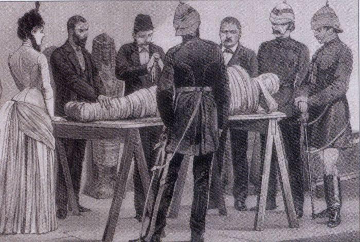 19th century illustration of Gaston Maspero unwrapping a mummy in Cairo, 1886. Image from Wikipedia.