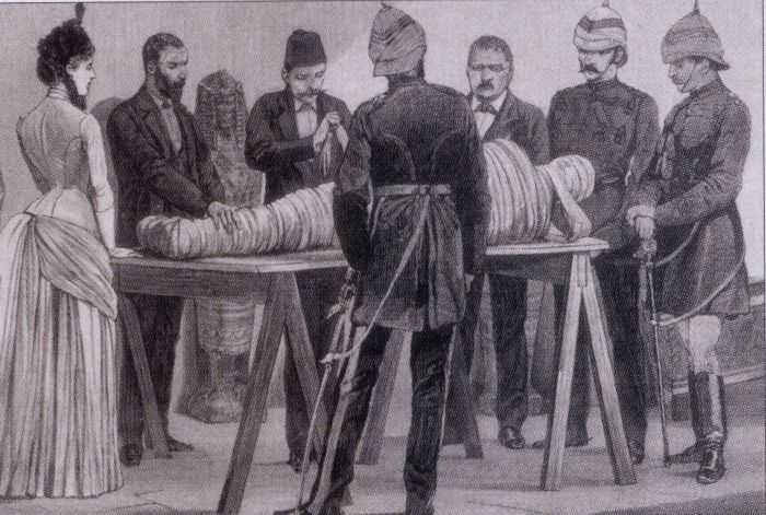 19th century illustration of Gaston Maspero unwrapping a mummy in Cairo, 1886. Image from Wikipedia.