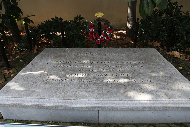 The grave of Betsy Ross and her 3rd husband John Claypoole at the Betsy Ross House.  Image credit: Jim, the Photographer on Flickr.