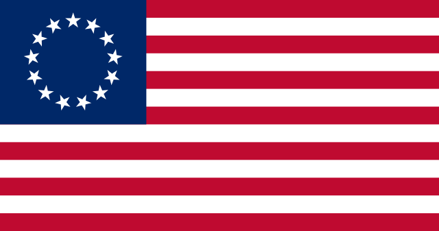 "The ""Betsy Ross flag"" with 13 stars and red and white stripes.  Image credit: jacobolus on Wikipedia."
