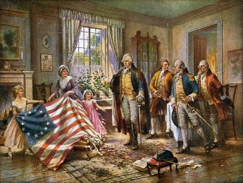 Painting by Edward Percy Moran (c. 1917) depicting the story of Betsy Ross presenting the first American flag to General George Washington.  From Wikipedia