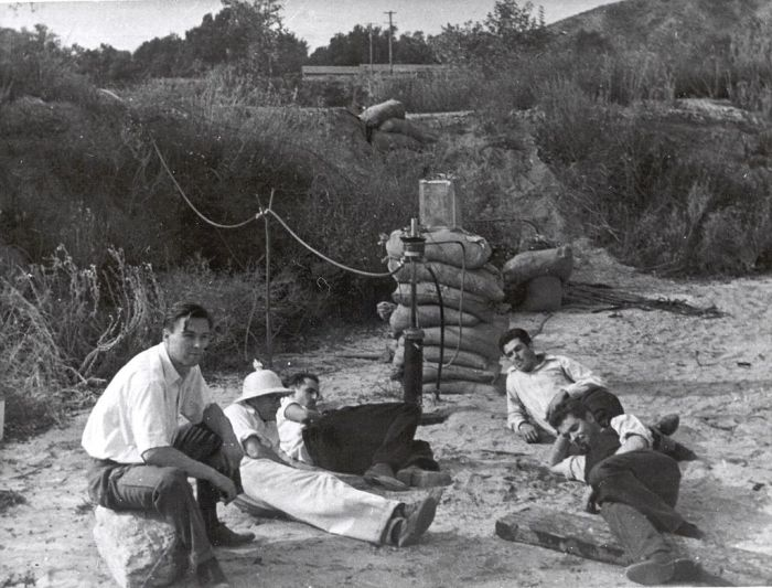 The Suicide Squad in the Arroyo Seco, November 1936. Left foreground to right: Rudolph Schott, Amo Smith, Frank Malina, Ed Forman, and Jack Parsons. Image from Wikipedia.
