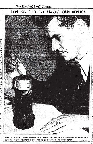 Photo from the LA Times (1938) of Jack Parsons with the replica pipe bomb used in the Kynette Trial. Image from Wikipedia.