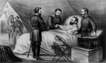Illustration of Stonewall Jackson's deathbed.  Image credit: Navel from Wikipedia,