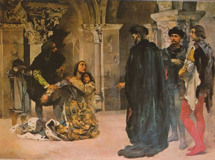 Murder of Inês de Castro. Paiting by Columbano Bordalo Pinheiro, ca. 1901/04. Image Credit: Wikipedia.