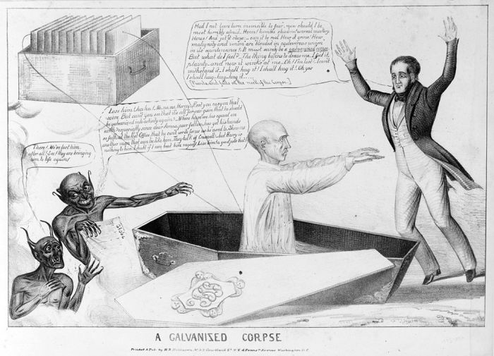 Cartoon of a galvanized corpse from the Library of Congress's Prints and Photographs division.  Image credit: Wikipedia.