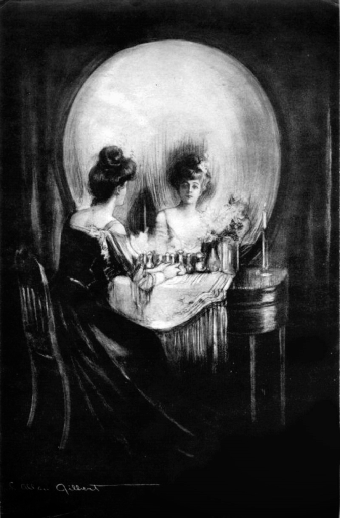 """All is Vanity"" by C. Allan Gilbert. Life, death, and meaning of existence are intertwined.  Image credit: Wikipedia"