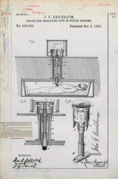 Patent drawing for J. G. Krichbaum's safety coffin.  Image credit: Wikipedia.