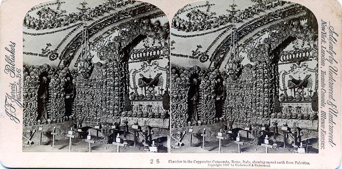 Vintage postcard ca. 1897 showing one of the human bone chandeliers in hte Capuchin Crypts at Santa Maria della Concezione dei Cappuccini.