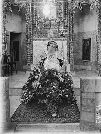 Body Syrian bishop's during his funeral. The corpse is seated in church, between 1940 and 1946.  Image credit: Eric and Edith Matson Photograph Collection via Wikipedia.