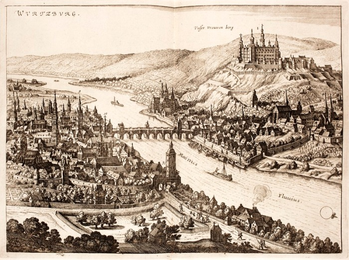 "Panorama of Würzburg (left), the River Main, and castle Marienberg (right). Matthäus Merian in Cornelis Danckerts, ""Historis"", 1642.  Image credit: Wikipedia"