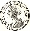 "Image of Lollia Paulina from ""Promptuarii Iconum Insigniorum"" by Guillaume Rouille (1518?-1589).  From Wikipedia."